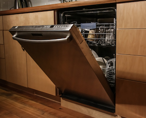 High efficiency dishwasher partially open